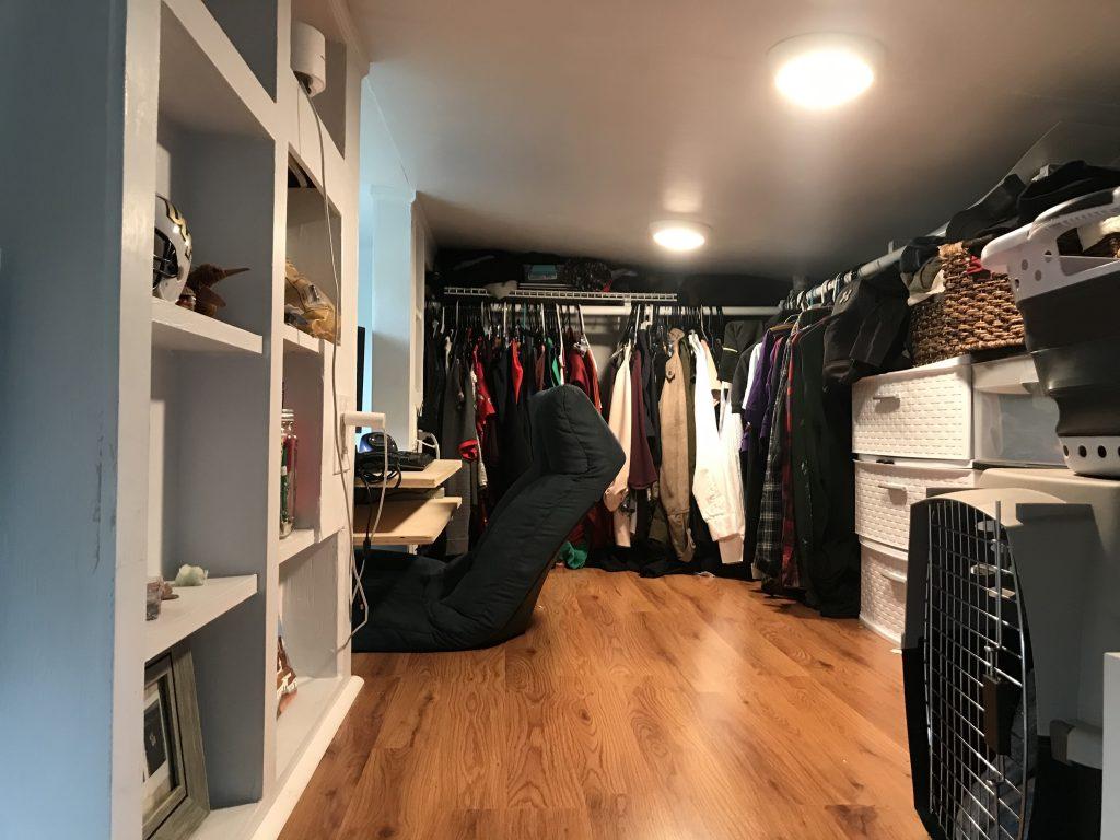 loft closet/office of our tiny home